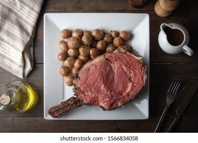 roasted thick cut ribeye with bone