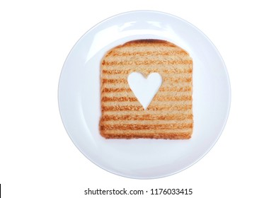 Roasted toast bread  with heart shape isolated on white background.