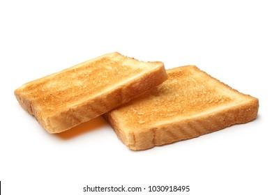 Roasted toast bread on white background