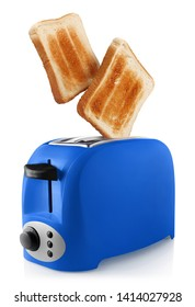 Roasted toasts popping out of a blue toaster, isolated on white background