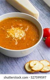 Roasted Tomato cream soup with Parmesan cheese