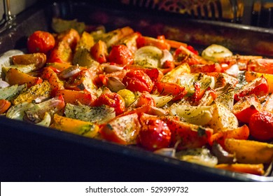 Roasted tomatoes, pepper, onion, carrot and garlic