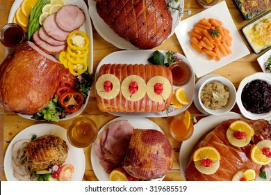 Roasted turkey and Ham for Festive dinner, Christmas dinner, Holiday table, Thanksgiving day celebration