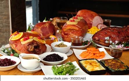 Christmas Ham Dinner.Thanksgiving Ham Dinner Images Stock Photos Vectors