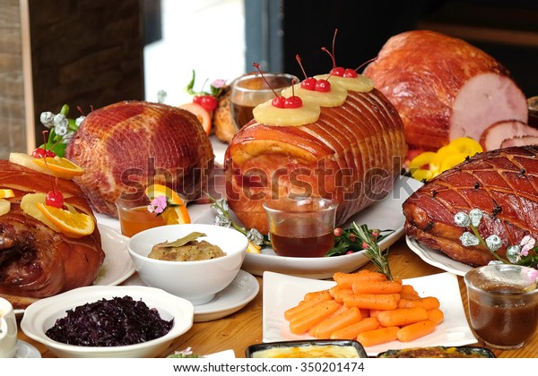 Christmas Ham Dinner.Roasted Turkey Ham Festive Dinner Christmas Stock Photo