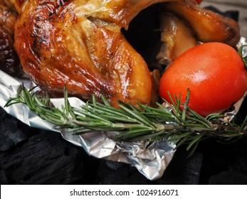 Roasted turkey on charcoa