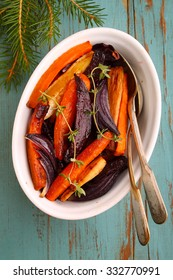 roasted vegetables: beets, carrots, onion, celery root