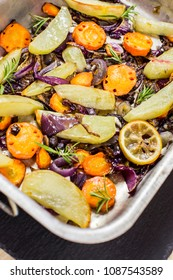 Roasted vegetables on baking tray