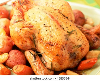 Roasted whole chicken on a plate with fried potato and asparagus