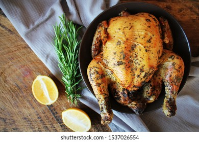 Roasted whole chicken or turkey for celebration and holiday. Christmas, thanksgiving, new year's eve dinner .