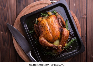 Roasted whole chicken / turkey for celebration and holiday. Christmas, thanksgiving, new year's eve dinner