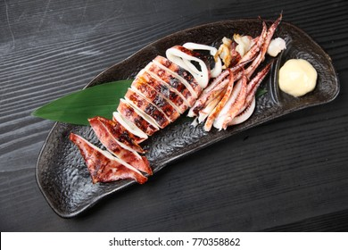 Roasted whole squid