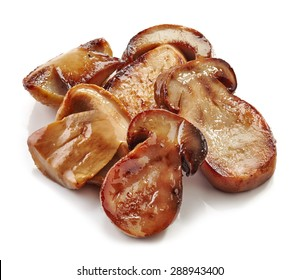 roasted wild mushrooms isolated on white background