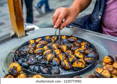 Roasting chestnuts in winter in Istanbul's Istiklal Street
