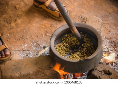 Roasting Coffee Beans over an open fire