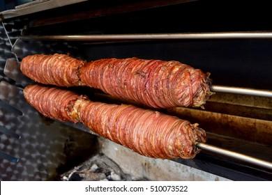 Roasting kokorech in Istanbul Turkey (kokorec)