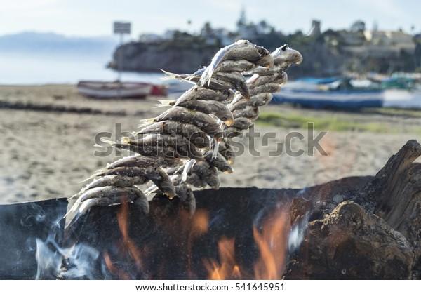 Sardinas asadas en la costa del sol Málaga España