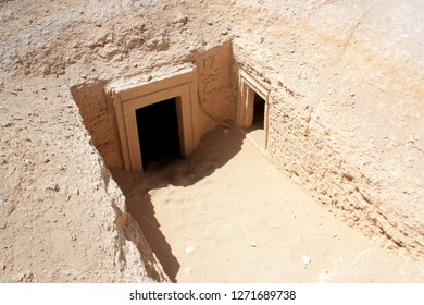Robbed tombs at the Mountain of the Dead in Siwa, Siwa Oasis, Egypt
