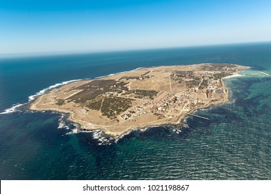 Robben Island Aerial South Africa, the island where Nelson Mandela was held prisoner.