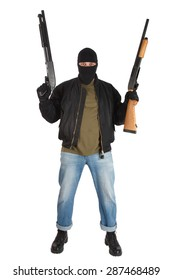 robber in black mask with shotgun isolated