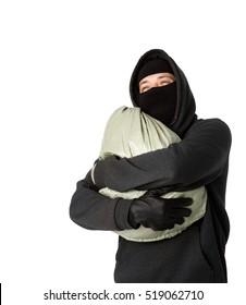 Robber hugging bag of money