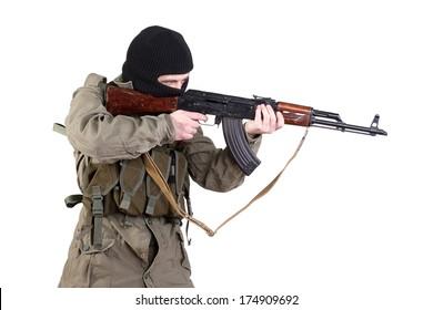 Robber with kalashnikov isolated
