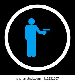Robbery glyph icon. This rounded flat symbol is drawn with blue and white colors on a black background.