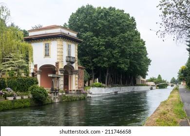 Robecco sul Naviglio (Milan, Lombardy, Italy), gardens of the historic Villa Gromo, along the Naviglio Grande