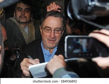 "Robert DeNiro departing Sofia, Bulgaria airport after the shots of the movie ""Killing season"".  11 October, 2012"