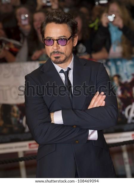 "Robert Downey Jr arrives for the ""Avengers Assemble"" premiere at the Vue cinema Westfield, London. 19/04/2012 Picture by: Simon Burchell / Featureflash"