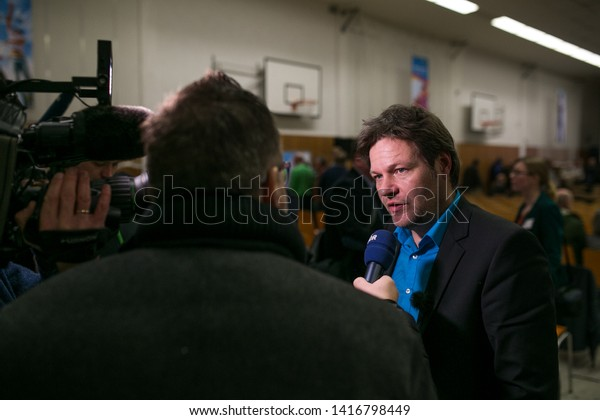 Robert Habeck gives a press interview in Germany, Scharbeutz 2018