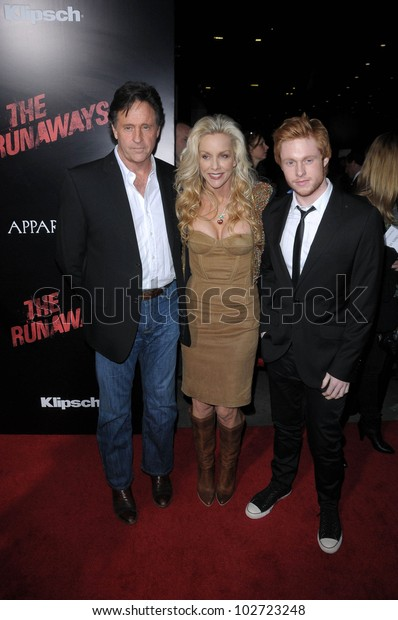 "Robert Hays and Cherie Currie at ""The Runaways"" Los Angeles Premiere, Cinerama Dome, Hollywood, CA. 03-11-10"