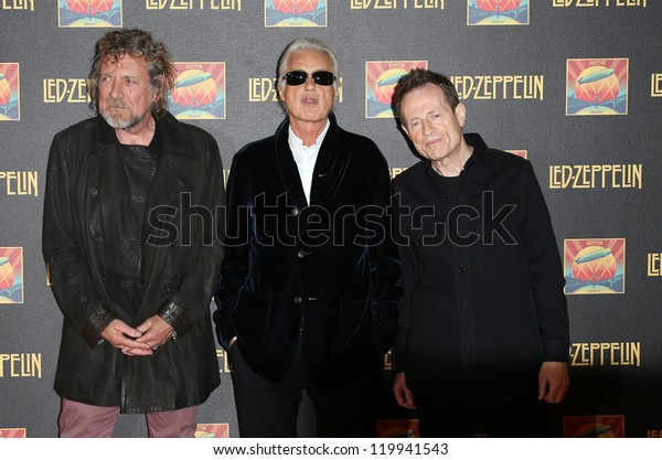 Robert Plant, Jimmy Page and John Paul Jones at the Led Zeppelin Celebration Day DVD screening launch held at Hammersmith Apollo London. 12/10/2012 Picture by: Henry Harris