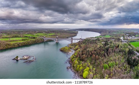 Robert Stephenson Britannia Bridge carries road and railway across the Menai Straits between, Snowdonia and Anglesey.
