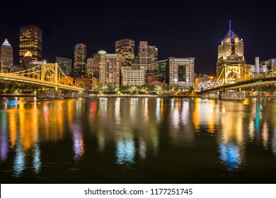 Roberto Clemente Bridge and the Andy Warhol Bridge over Allegheny River Pittsburgh Pennsylvania USA