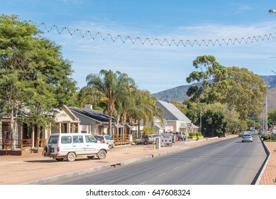 ROBERTSON, SOUTH AFRICA - MARCH 26, 2017: A street scene in Robertson, a town on the scenic Route 62 in the Western Cape Province