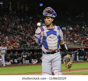 Robinson Chirinos, catcher for the Texas Rangers at Chase Field in Phoenix Arizona USA July 30,2018.
