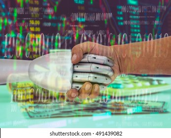 ROBO Adviser concept. Double exposure of man and robot hand shaking  on abstract investment management background.