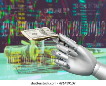 ROBO Adviser concept. Robot hand holding US. dollar banknotes  on abstract investment management background.