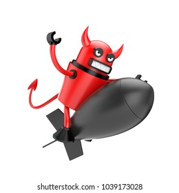 Robo devil flying on the BOMB. From the life of robots. 3d illustration