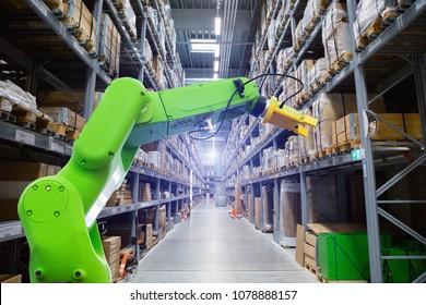Roboric arm in warehouse