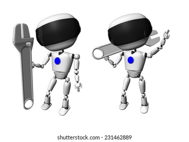 Robot with adjustable wrench. Isolated on white background