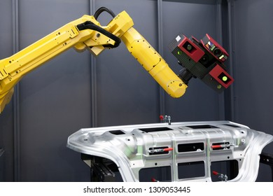 Robot arm with 3D scanner. Automated scanning.