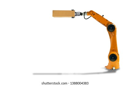 Robot arm hold the box industry Mechanical technology on a white background.