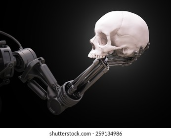 Robot arm holding a human skull