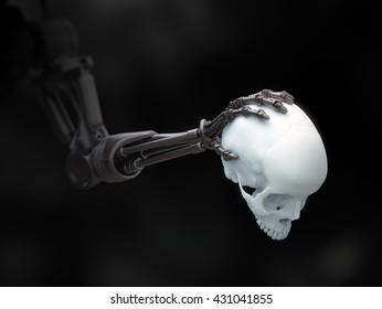 Robot arm holding a human skull - 3D illustration