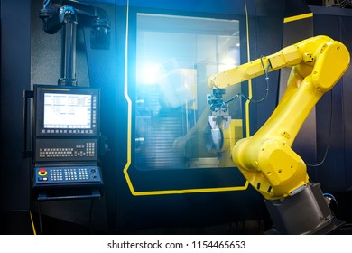 Robot arm motion blur in machine tool metalworking process for industry manufacture,CNC metal machining.
