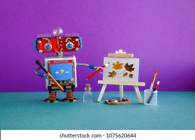 Robot artist pencil hand, wooden easel still-life artwork autumn leaves. Advertising poster studio school of visual arts and drawing. Artist's tools palette watercolor brushes, pencils. Violet wall