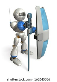Robot with a big sword and shield.isolated. computer generated image.