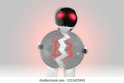 Robot breaking bitcoin close loss in value red